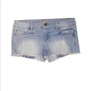 Celebrity Pink Low Rise Medium Wash Denim Shorts